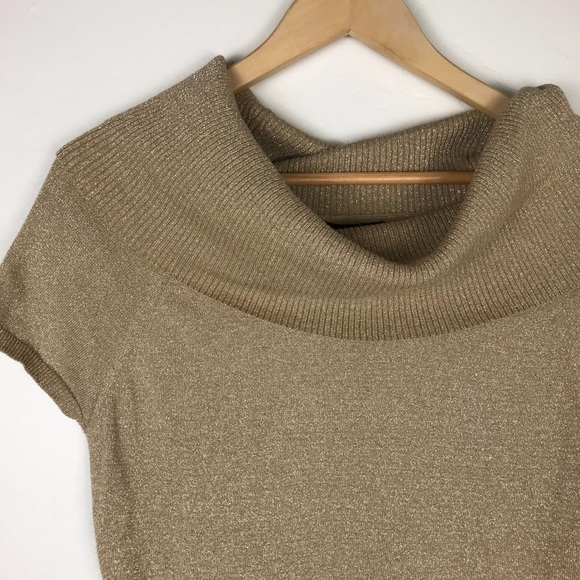 Express Tops - Gold Shimmery Blouse with Oversized Collar
